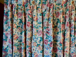 VINTAGE FLORAL SILK COUNTRY COTTAGE PLEATED LINED CURTAIN DRAPES 2 LONG ... - $15.99