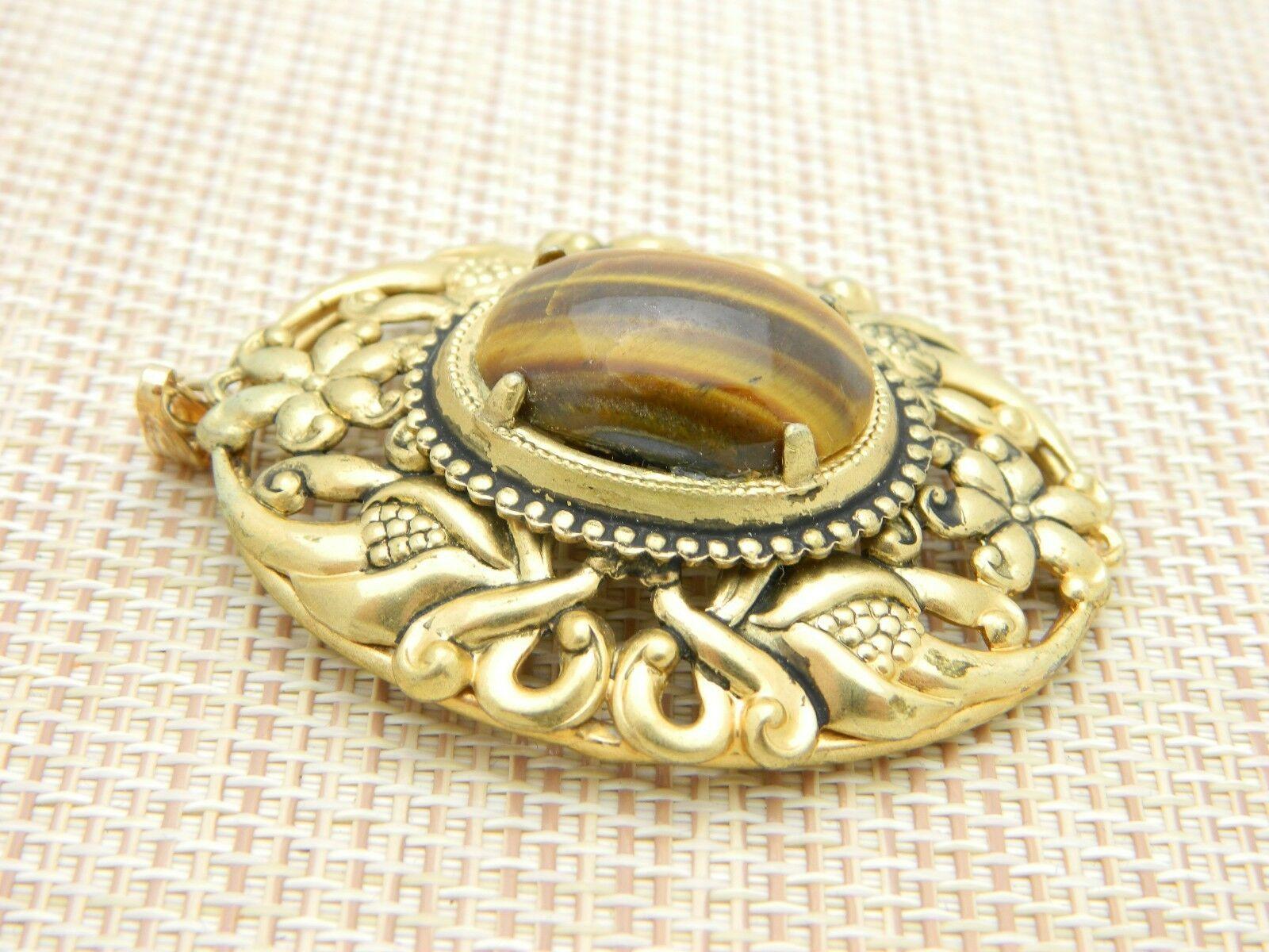 Tiger's Eye Gold Tone Repousse Necklace Pendant Vintage image 2