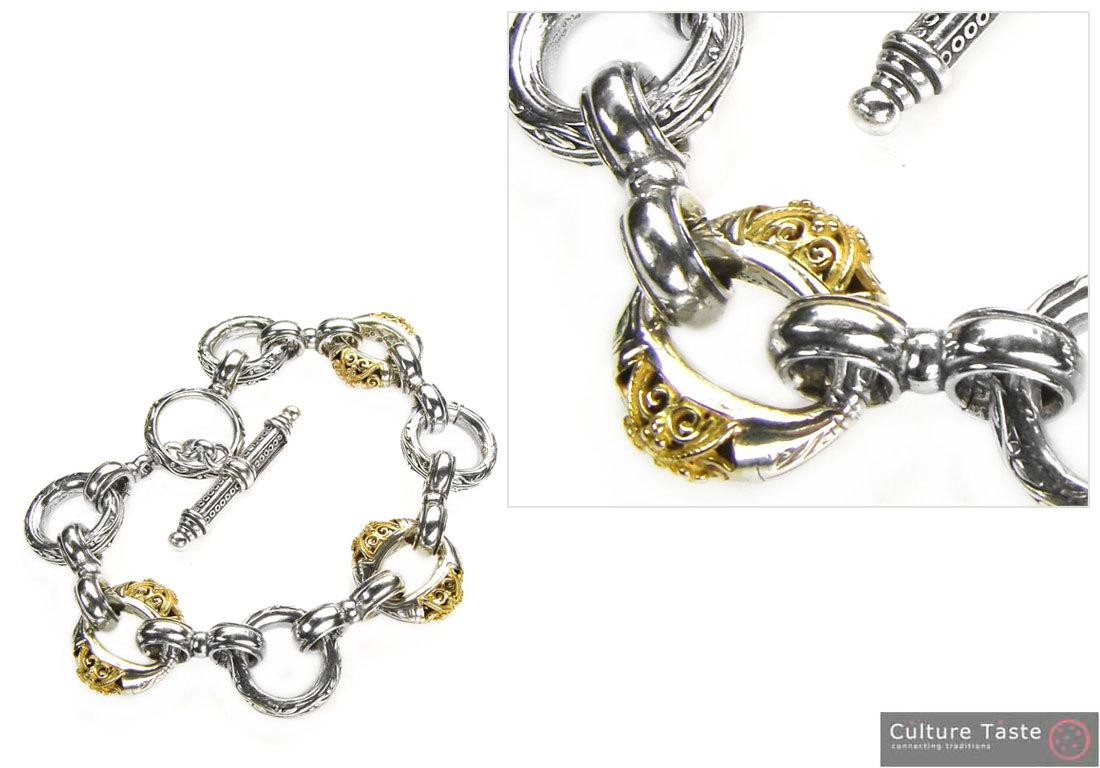 Gerochristo 6276 - Solid 18K Gold & Silver - Basic Charm Bracelet