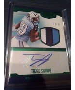 Tajae Sharpe #15/25 2016 Panini Plates & Patches RC Patch Auto 3 Color S... - $23.77