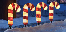 Driveway Decor Set of 4 Light Candy Cane Garden... - $18.78