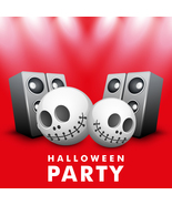 Background for Halloween Party Night Human Skull and Loudspe-Digital cli... - $4.00