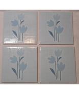 "QTY 4 SPANISH TERRA COTTA TILES Blue Tulip Flowers 5 5/8"" X 5 5/8"" FAST ... - $7.97"