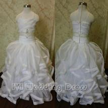 Real Photos Flower Girl Dress with Pencil Edge Ruffled Miniature Wedding... - $97.00
