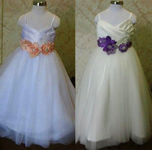 2016 Flower Girl Dress with Hand Made Flower Petals Are Adorned with Rhi... - $90.00