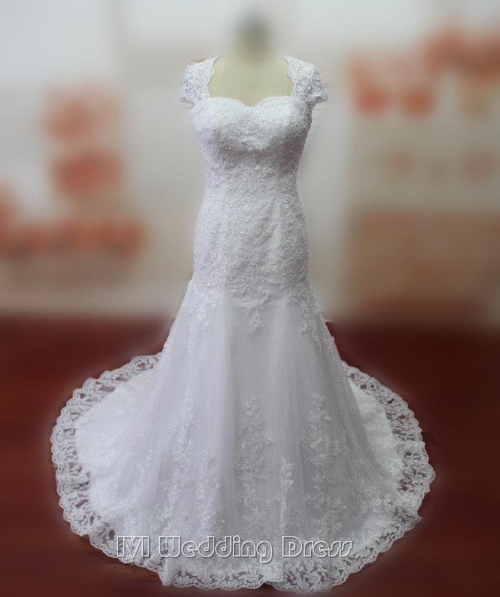Real pictures mermaid wedding dresses cap sleeves wedding for True mermaid wedding dresses
