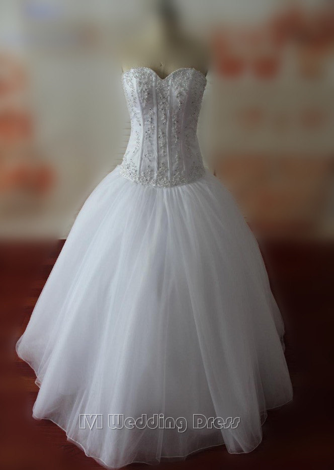 Real samples corset top wedding dresses with pearls for Wedding dress with corset top