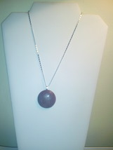 Handmade Purple Natural Stone Pendant On Silver... - $4.99