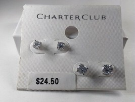 Charter Club Silver 2 Pairs of Crystal Stud Earrings - New - $11.88
