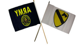 """12x18 12""""x18"""" Wholesale Combo Army Crest & White Cavalry Division Stick ... - $22.00"""