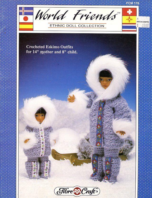 Fibre Craft  World Friends Eskimo Outfits Doll Clothes Crochet Pattern FCM178