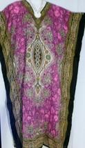 Caftan Dress Pink Gold Dashiki Print Plus Size 1X to 2X Free Shipping - $18.69