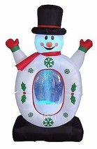 4 Foot Tall Christmas Lighted Inflatable Snowman Snowflake Snow Globe De... - £59.72 GBP