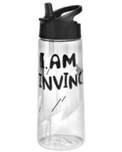 "Tritan Cat & Jack 21.5oz Cold Drink Water Bottle ""I Am Invincible"" Black Zip Top"