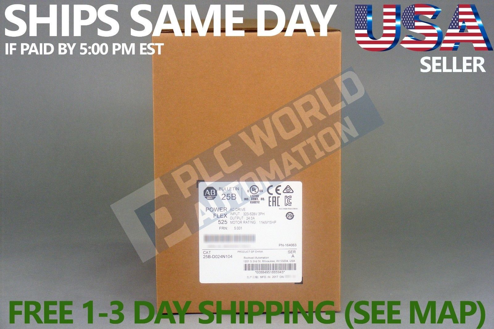 Primary image for 2018 NEW FACTORY SEALED ALLEN BRADLEY 25B-D024N104 SER A POWERFLEX 525 AC DRIVE