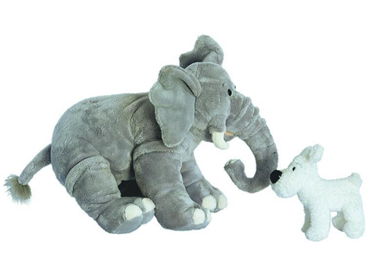 SNOWY & ELEPHANT TOY PLUSH SET 14'' TINTIN NEW