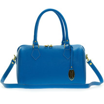 Giordano Italian Made Bright Azure Blue Leather Structured Satchel Handb... - $342.30