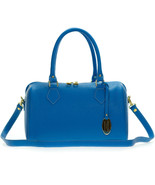 Giordano Italian Made Bright Azure Blue Leather Structured Satchel Handb... - $433.23 CAD
