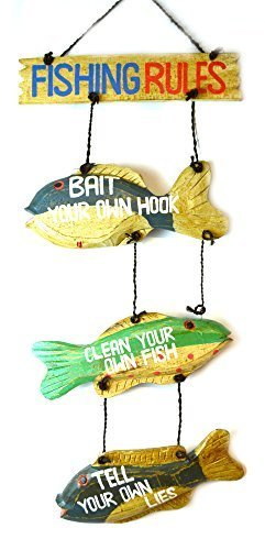 LG Hand Carved FISHING RULES SIGN Wooden Wall Hanging Art Tiki Bar