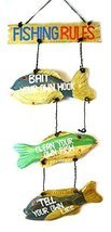 LG Hand Carved FISHING RULES SIGN Wooden Wall Hanging Art Tiki Bar - $29.69