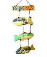 LG Hand Carved FISHING RULES SIGN Wooden Wall Hanging Art Tiki Bar - £23.45 GBP