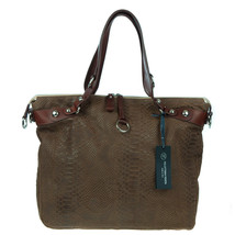 VENETA Italian Made Natural Brown Snakeskin Embossed Leather Designer To... - $294.03