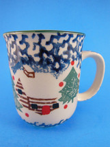 Cabin in the Snow Stoneware Christmas  Cup Mug Stoney Hill Up Country EUC - $3.46