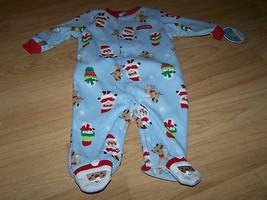 Infant Size 3-6 Months Blue Holiday Fleece Footed Sleeper Santa Deer Sno... - $12.00