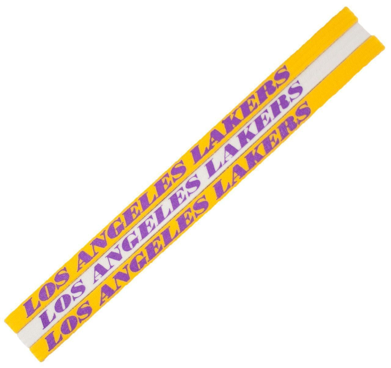 LOS ANGELES LAKERS Pack of 3 ELASTIC HAIR HEADBANDS TEAM LOGO NBA BASKETBALL