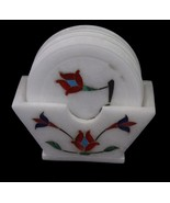 MARBLE DECORATIVE INLAY HANDMADE INDIAN WHITE TEA TRAY SET 6 COLORFUL  - $37.87