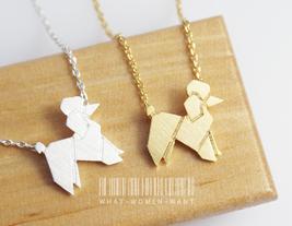 Origami Poodle dog necklace, origami necklace, poodle dog, dog necklace,... - $8.90