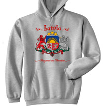 Latvia Coat Of Arms   New Cotton Grey Hoodie   All Sizes In Stock - $57.18