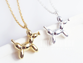 Petite Balloon dog necklace, Sausage dog, dog necklace, balloon necklace. - $8.90