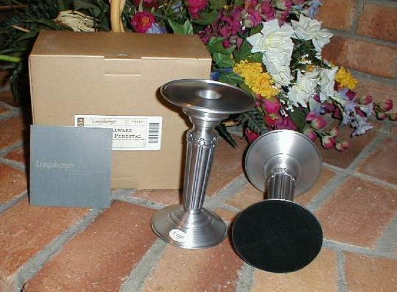 Longaberger Metalware Pedestal Candle Holders Set of 2 New in Box