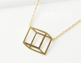 Hexahedron necklace, Square necklace, geometric necklace, geometric neck... - $8.50