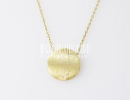 Wavy Disc necklace, disc necklace, round charm, minimal necklace, basic ... - $8.90