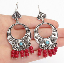 925 Sterling Silver - Vintage Coral Beaded Turquoise Dangle Earrings - E... - $51.94