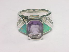 Inlaid OPAL, Channel Set CZ and Bezel Set AMETHYST Designer RING - Size 6 - $85.00
