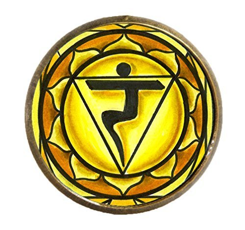 "3rd Chakra Manipura 1"" Circle Antique Gold Bronze Adjustable Ring"