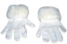 Alpakaandmore Women Finger Gloves Alpaca Wool Alpaca Fur Trim Cuff White... - $54.45