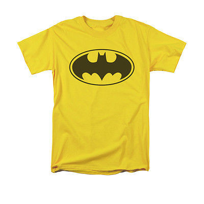 Batman Black Logo T-shirt DC superhero Gotham 100% cotton yellow graphic tee