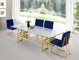 Meridian Furniture 714 Pierre Dining Room Set 5pcs in Navy Stainless Steel