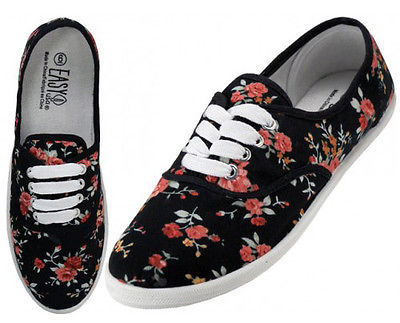 Womens Black Rose Floral Print Canvas Sneakers Lace Up Tennis Shoes Sz 6-11 NEW