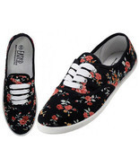 Womens Black Rose Floral Print Canvas Sneakers Lace Up Tennis Shoes Sz 6... - £16.57 GBP