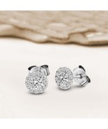 14 K White Gold 1 CT Lab Grown Diamond Halo Stud Earring for Women IGI c... - $838.75
