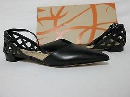 Via Spiga Size 6.5 M Valenca Black Leather Ankle Strap Flats New Womens ... - $117.81