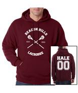 Hale 00 Derek Hale CROSS Beacon Hills Lacrosse Maroon hoodie teen wolf - $40.00
