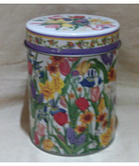 Vintage Nesting Tin Canisters, Floral Stackable Canisters, Spring Flower... - $13.00
