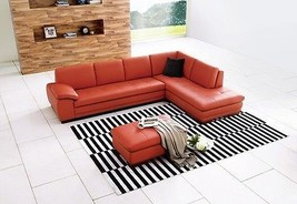 J&M 625 Orange Full Top Grain Leather Italian Sectional Sofa Modern Right