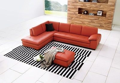 J&M 625 Orange Full Top Grain Leather Italian Sectional Sofa Modern Left